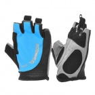 Outdoor Cycling Riding Half Finger Gloves with Protective Pad - Grey + Blue + Black (Pair/Size-L)