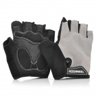 Outdoor Cycling Riding Half Finger Gloves with Protective Pad - Grey + Black (Pair/Size-L)