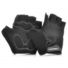 Outdoor Cycling Riding Half Finger Gloves with Protective Pad - Black (Pair/Size-XL)