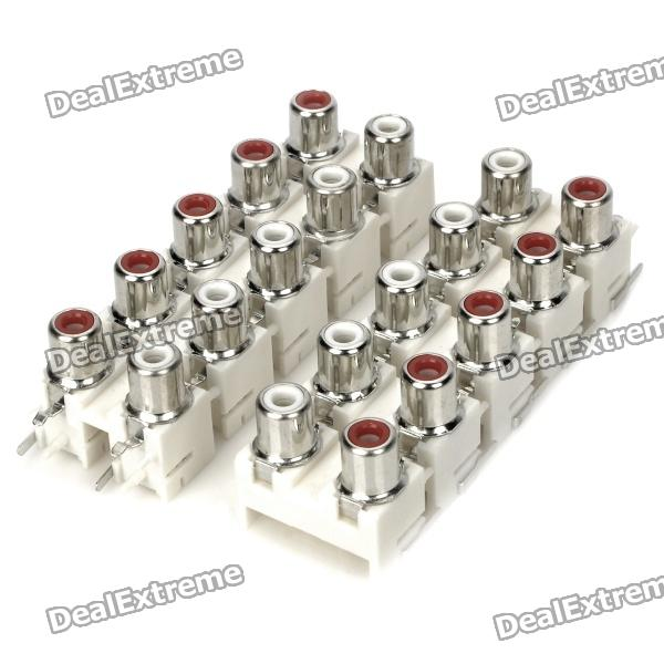 AV 2-Female Jack RCA konektory (10-Piece Pack)