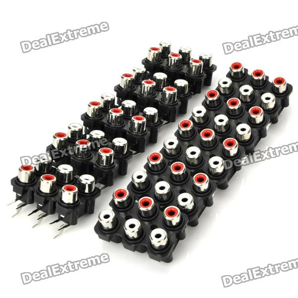 AV 6-Female Jack RCA Socket Connectors (10-Piece Pack) chinese gadget ...