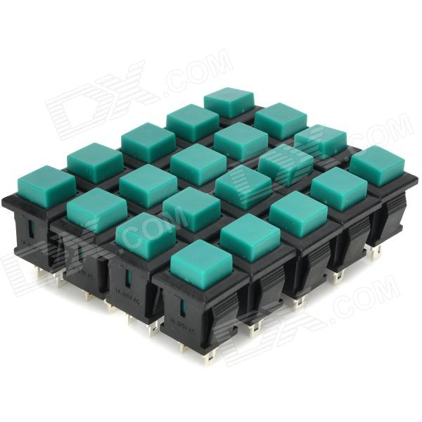 DIY 2-Pin Square Push Button Switches - Green + Black (20-Piece Pack) replay ty200 7 5jx19 5x114 3 d60 1 et35 bkf