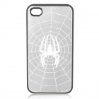 Cool Spider Pattern Protective Aluminum Alloy Skin Plastic Back Case for iPhone 4 / 4S - Silver