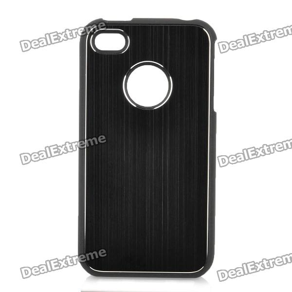 Drawbench Style Protective Aluminum Alloy Back Case for Iphone 4 / 4S - Black