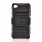 2-in-1 Protective Plastic & Silicone Back Case w/ Stand for iPhone 4 / 4S - Black + Brown