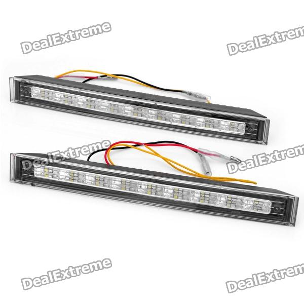 Dual Color 2W 120LM 18-SMD LED White Light + Yellow Flashing Turn Light Daytime Running Lamp (Pair) cmi 0 2w 15lm 6500k 2 led white light retro style optical control solar wall lamp black 2v