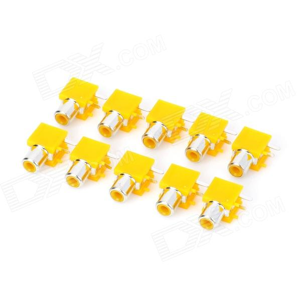 DIY Parts RCA Socket Connectors - Yellow + Silver (10-Piece Pack)