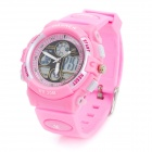 Pasnew Sports Analog + Digital Quartz Water Resistant Wrist Watch - Pink (3V R2016)