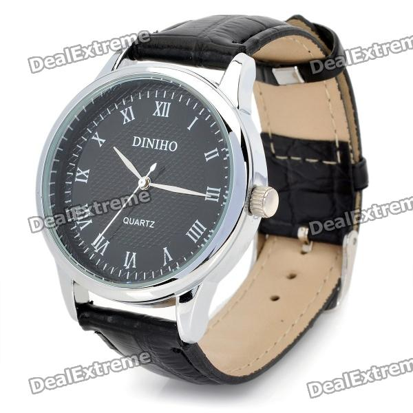 Fashion PU Band Quartz Wrist Watch for Men - Black (1 x LR626)