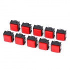 DIY 2-Pin Square Push Button Switches - Red + Black (10-Piece Pack)