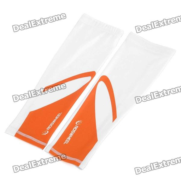 Outdoor Cycling Oversleeves - Orange + White (Size L/Pair)