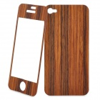 Stylish Wooden Front & Back Protector for Iphone 4 / 4S - Brown