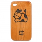 Stylish Chinese Zodiac Ox Pattern Wooden Protective Back Case for iPhone 4 / 4S - Brown