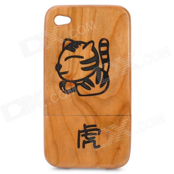 Stylish Chinese Zodiac Tiger Pattern Wooden Protective Back Case for Iphone 4 / 4S - Brown