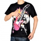 Fashion Electronic Rock Guitar Short Sleeves T-Shirt - Black