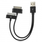 USB Male to Apple 30-Pin + Samsung P1000 Connector Data Charging Cable - Black