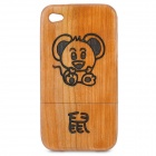 Stylish Chinese Zodiac Rat Pattern Wooden Protective Back Case for Iphone 4 / 4S - Brown
