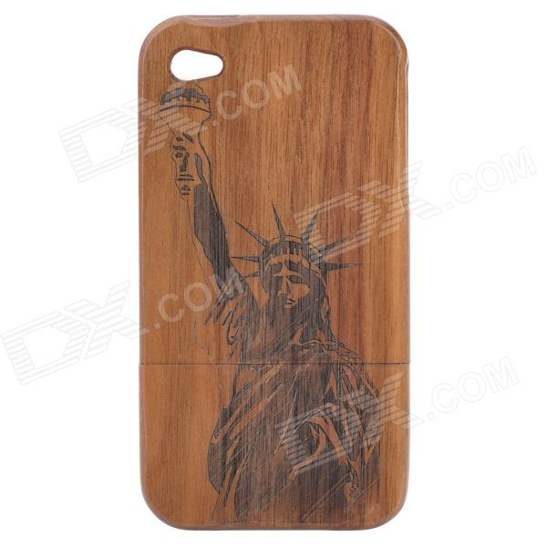 Detachable The Statue of Liberty Pattern Protective Wooden Back case for Iphone 4 / 4S - Brown