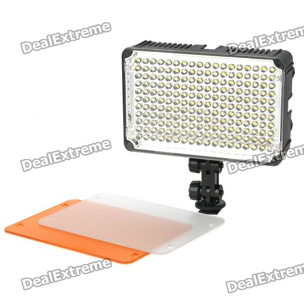 5500 ~ 3200K 198-LED Video Lampe w / Filter für Kamera / Camcorder - Schwarz (DC 5,5 ~ 9,5 V)