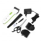 Rechargeable Hair Clipper w / EU Plug & Shears / Combinaison à double tête - Blanc + Vert