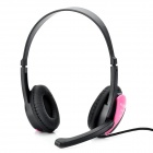 HUMEI HM-3440 Stylish Stereo Headphones Headset w/ Microphone / Volume Control - Pink (3.5mm-Plug)