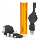 Portable 2600mAh External Mobile Power Battery Charger w/4 x Adapters for iPhone/Cellphone - Golden