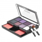 02# Cosmetic Makeup 8-Color Eye Shadow + 2-Color Blush Rouge Kit w/ Brush