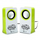 B121-02 USB Powered Music Speakers - White + Green (3.5mm-Plug)