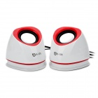 USB Powered Music Speakers - White + Red (3.5mm-Plug)