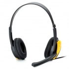 HUMEI HM-3440 Stylish Stereo Headphones Headset w/ Microphone / Volume Control - Yellow (3.5mm-Plug)