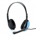 HUMEI HM-3440 Stylish Stereo Headphones Headset w/ Microphone / Volume Control - Blue (3.5mm-Plug)
