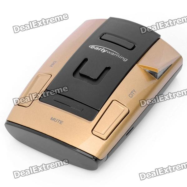 "EW-707 1.5"" LED Car Radar Detector with Car Charger / Mount - Golden + Black (Russian)"