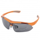 Sports Cycling PC Lens UV400 Eye Protection Glasses Goggle - Orange