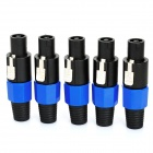 4-Pin Speaker Cable Plug Connectors - Blue + Black (5-Piece Pack)