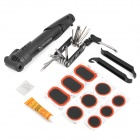 Bicycle Repair Air Pump + Wrench + Tire Spoon + Screwdriver + More Tools Set - Black