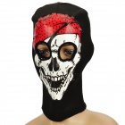 Pirate Skull Design Knitted Balaclava Face Mask - Black + Red + White