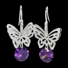 925Silver Butterfly Australia Drilling Dangle Eardrop Earrings (Pair)