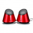 B123-01 USB Powered Music Speakers - Red (3.5mm-Plug)
