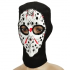 Hockey Mask Design Balaclava Knitted Face Mask - Black + White + Red