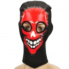 Red Face Design Knitted Balaclava Face Mask - Black + Red