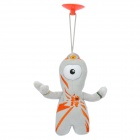 2012 London Summer Olympics Mascot Wenlock Short Plush Doll Toy w/ Suction Cup - Grey + Orange