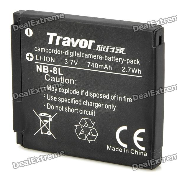 Travor NB-8L 3.7V 740mAh Battery Pack for Canon PowerShot A3100 IS - Black