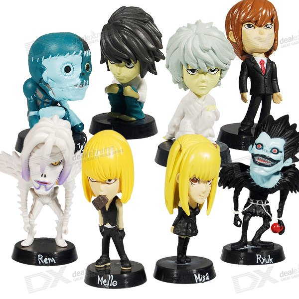 Death Note Anime Character Figures (8-Piece Set) sosw fashion anime theme death note cosplay notebook new school large writing journal 20 5cm 14 5cm