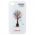 London 2012 Summer Olympics Tree Pattern Protective Plastic Back Case for iPhone 4 / 4S - White
