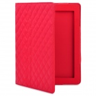 Protective Artificial Leather Flip Open Case for New Ipad / Ipad 2 - Red