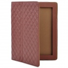 Protective Artificial Leather Flip Open Case for New Ipad / Ipad 2 - Brown