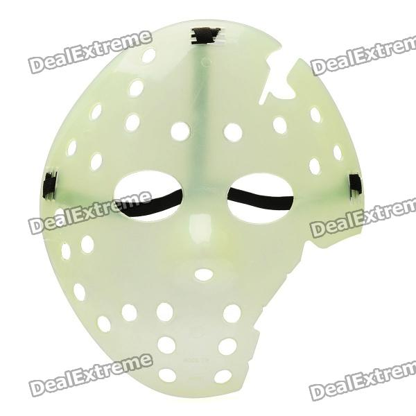 Glow-in-the-Dark Halloween Jason Damaged Face Mask - Green