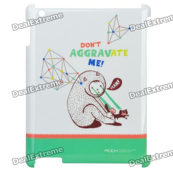 Bear Pattern ROCK Protective ABS Back Case for New Ipad - White + Green