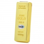 Gold Bar Style USB 2.0 Flash Drive - Golden (16GB)
