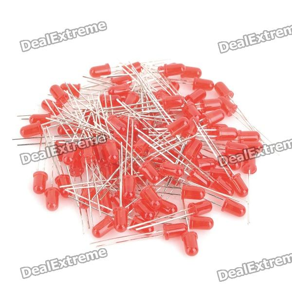 635~645nm 800~1000MCD 5mm LED - Red (100-Piece Pack)
